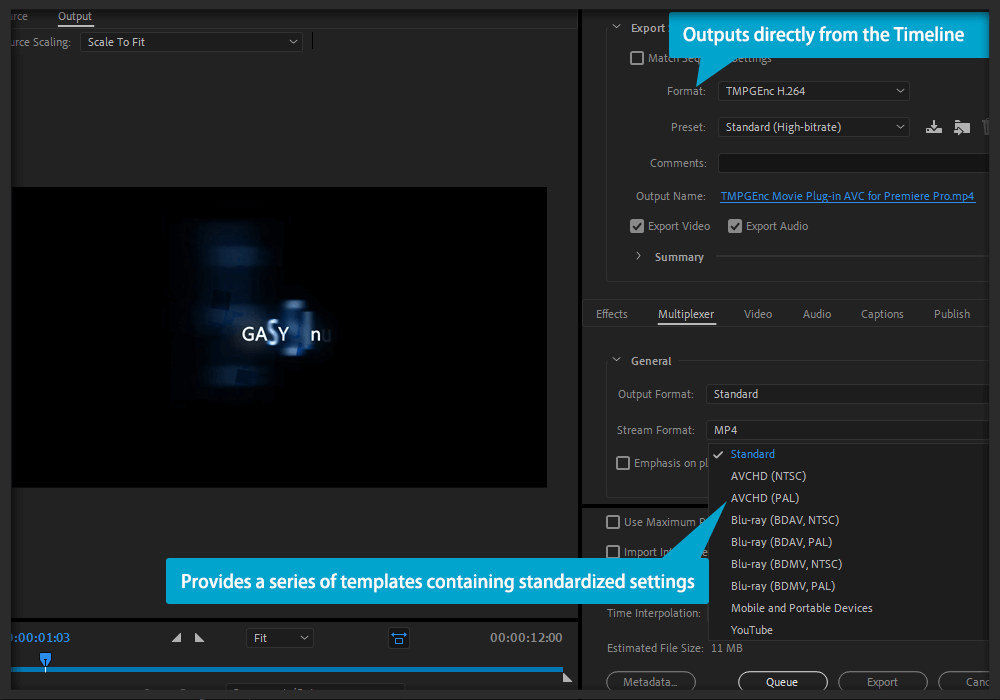 TMPGEnc Movie Plug-in AVC for Premiere Pro - Export Premiere