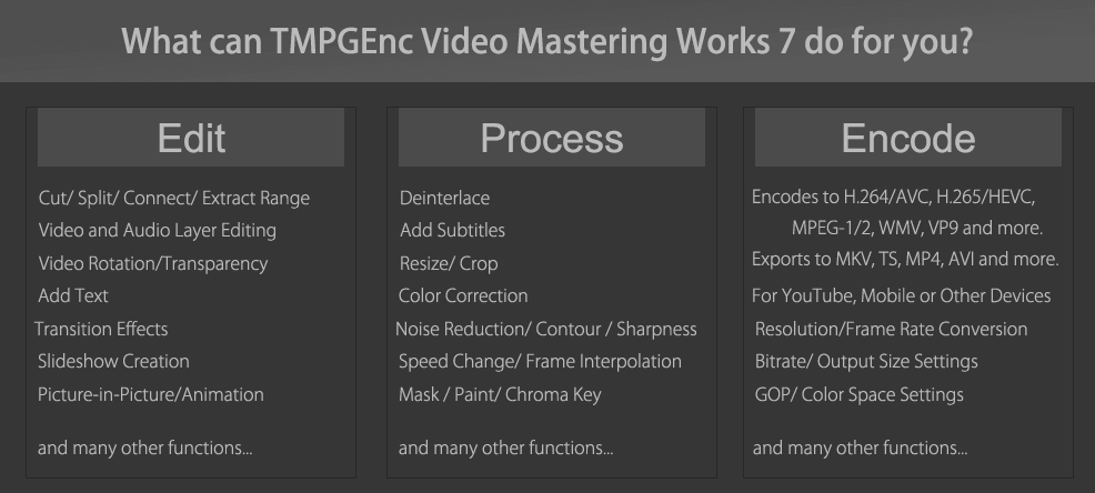 Video Conversion / Encoding - TMPGEnc Video Mastering Works 7